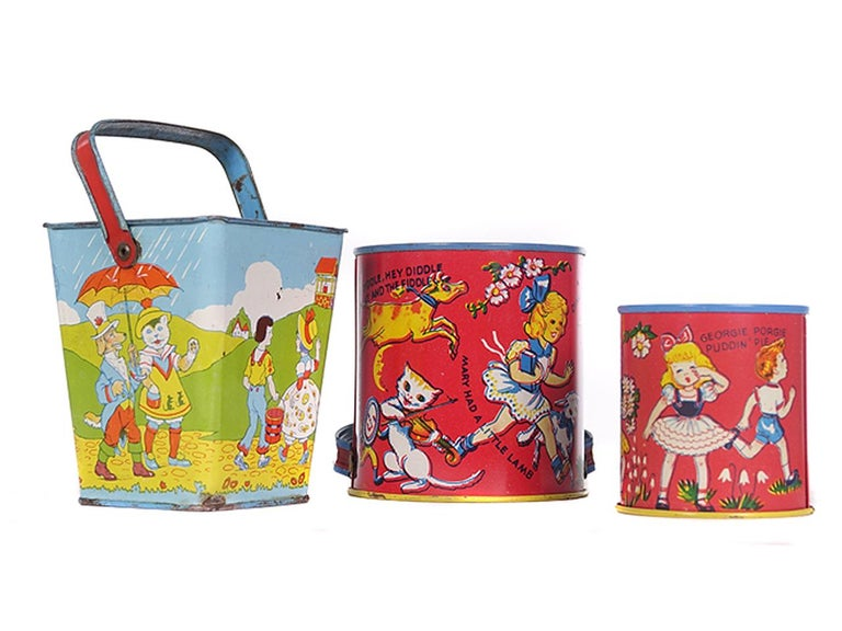 20th Century Large Collection of Antique Toy Pails For Sale