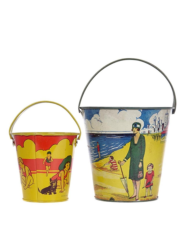 Metal Large Collection of Antique Toy Pails For Sale
