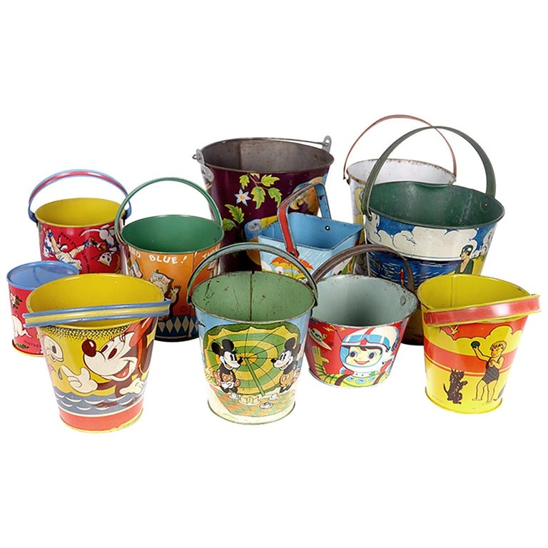 Large Collection of Antique Toy Pails For Sale