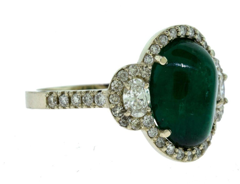 Oval Cut Large Colombian Emerald Cabochon Cocktail Ring with Diamonds in White Gold For Sale