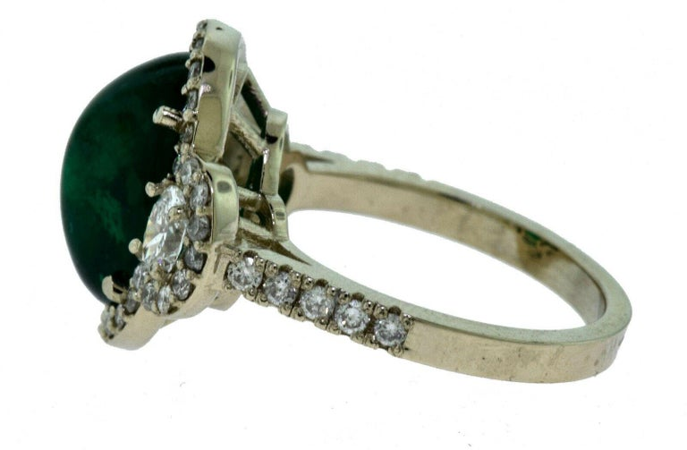 Large Colombian Emerald Cabochon Cocktail Ring with Diamonds in White Gold In Good Condition For Sale In Miami, FL