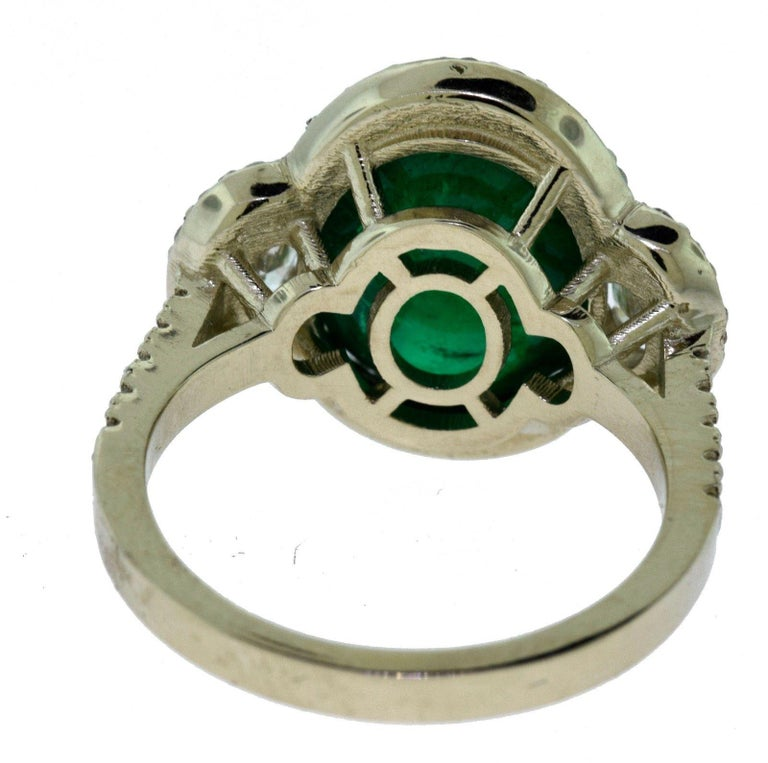 Women's or Men's Large Colombian Emerald Cabochon Cocktail Ring with Diamonds in White Gold For Sale