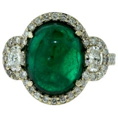 Large Colombian Emerald Cabochon Cocktail Ring with Diamonds in White Gold
