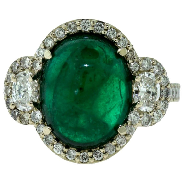 Large Colombian Emerald Cabochon Cocktail Ring with Diamonds in White Gold For Sale
