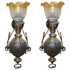 Large Colonial Style Hurricane Wall Lamp, Pair