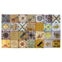 Large Colorful Berber Handmade Tile Panel, Morocco