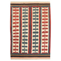 Large Colorful Flat-Weave Rug