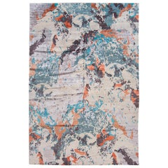 Large Colorful Modern Abstract Wool and Silk Rug