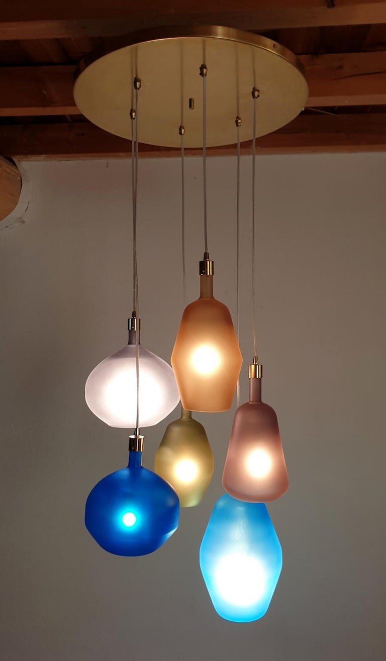 Italian Large Colorful Murano Glass Mid-Century Modern Chandelier, Leucos Style, 1980s For Sale