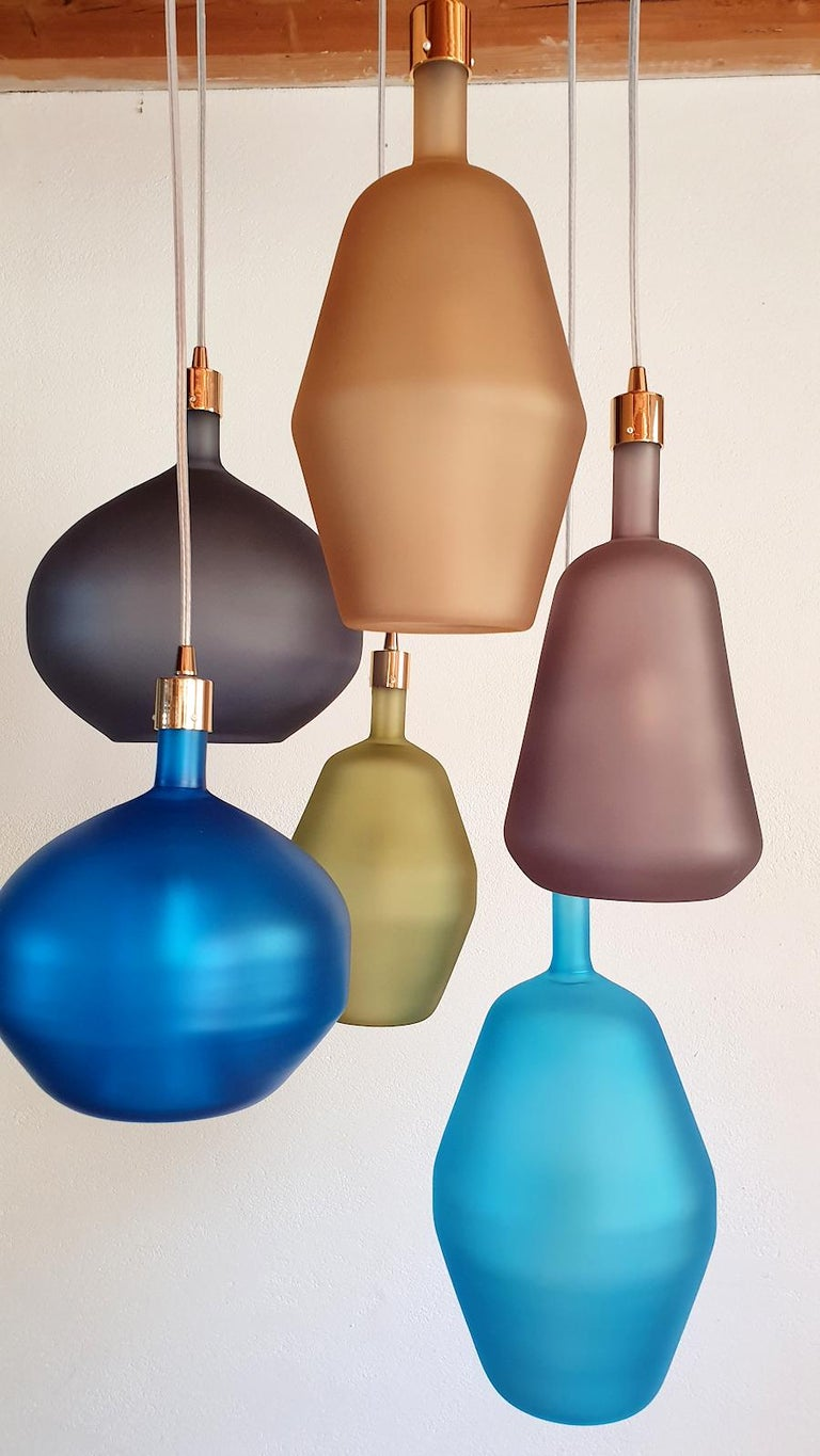Late 20th Century Large Colorful Murano Glass Mid-Century Modern Chandelier, Leucos Style, 1980s For Sale