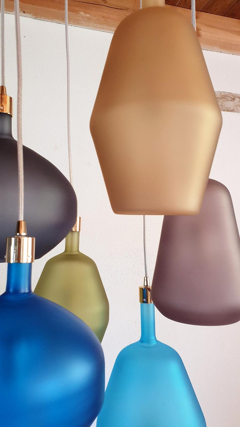 Brass Large Colorful Murano Glass Mid-Century Modern Chandelier, Leucos Style, 1980s For Sale