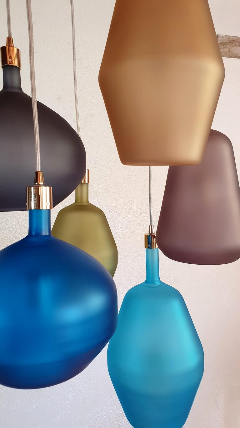 Large Colorful Murano Glass Mid-Century Modern Chandelier, Leucos Style, 1980s For Sale 1
