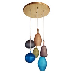 Large Colorful Murano Glass & Brass Mid-Century Modern Chandelier, Leucos Style