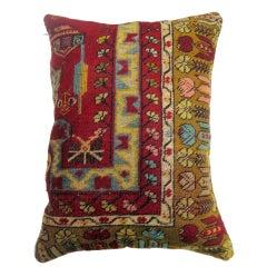 Large Colorful Turkish Rug Border Pillow