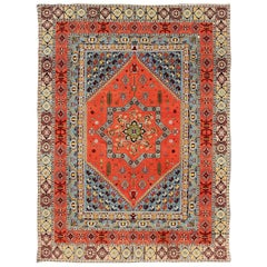 Large Colorful Vintage Moroccan Rug in Medallion Design and Tribal Elements
