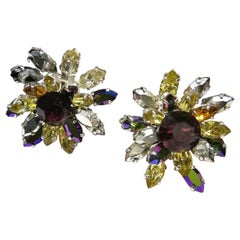 Large coloured, aurora borealis paste 'cluster' earrings, Christian Dior, 1959