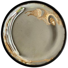 Large Concave Silver Distressed Mirror