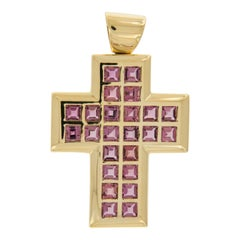 Large Contemporary 18 Karat Gold and Tourmaline Cross