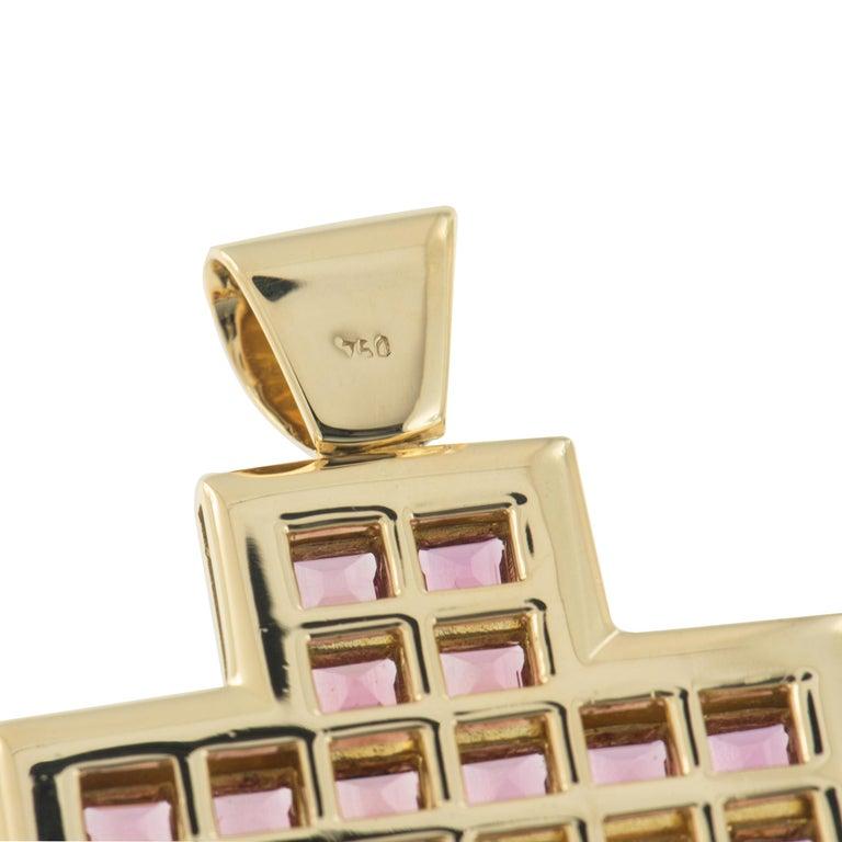 Asscher Cut Large Contemporary 18 Karat Gold and Tourmaline Cross For Sale