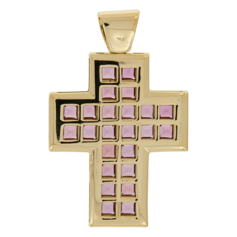 Large Contemporary 18 Karat Gold and Tourmaline Cross In New Condition For Sale In Troy, MI