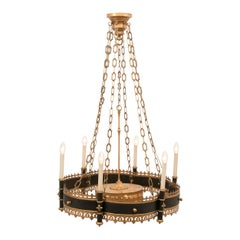 Large Contemporary Bespoke Gothic Medieval Style Old Iron and Guild Chandelier