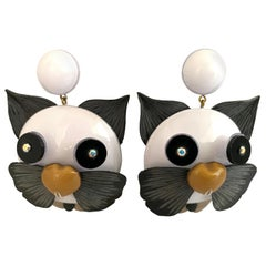Large Contemporary Black and White Cat Statement Earrings