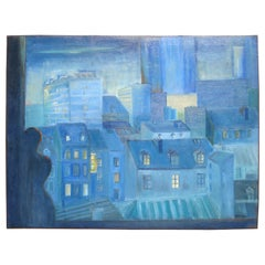 Large Contemporary Blue Oil on Canvas Painting Paris France Room with a View