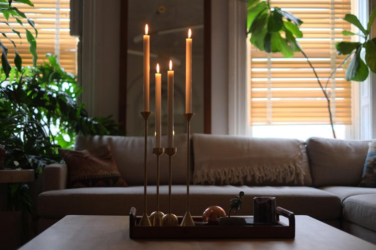 Large Contemporary Brass Cone Spindle Candle Holders by Fort Standard, in Stock In New Condition For Sale In Brooklyn, NY