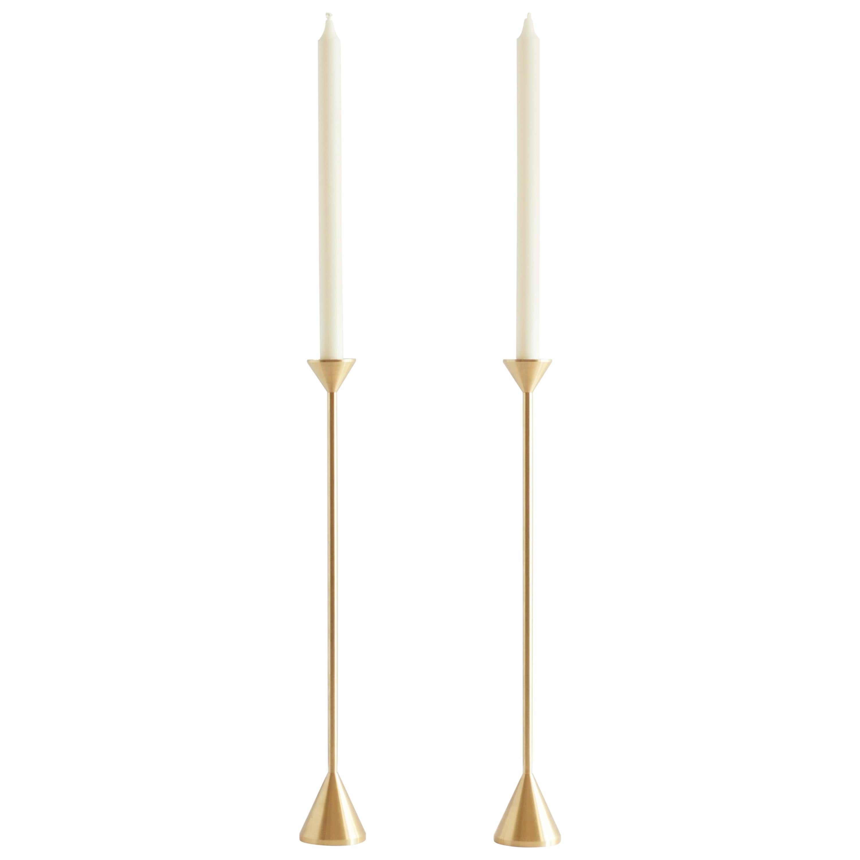 Large Contemporary Brass Cone Spindle Candle Holders by Fort Standard, in Stock