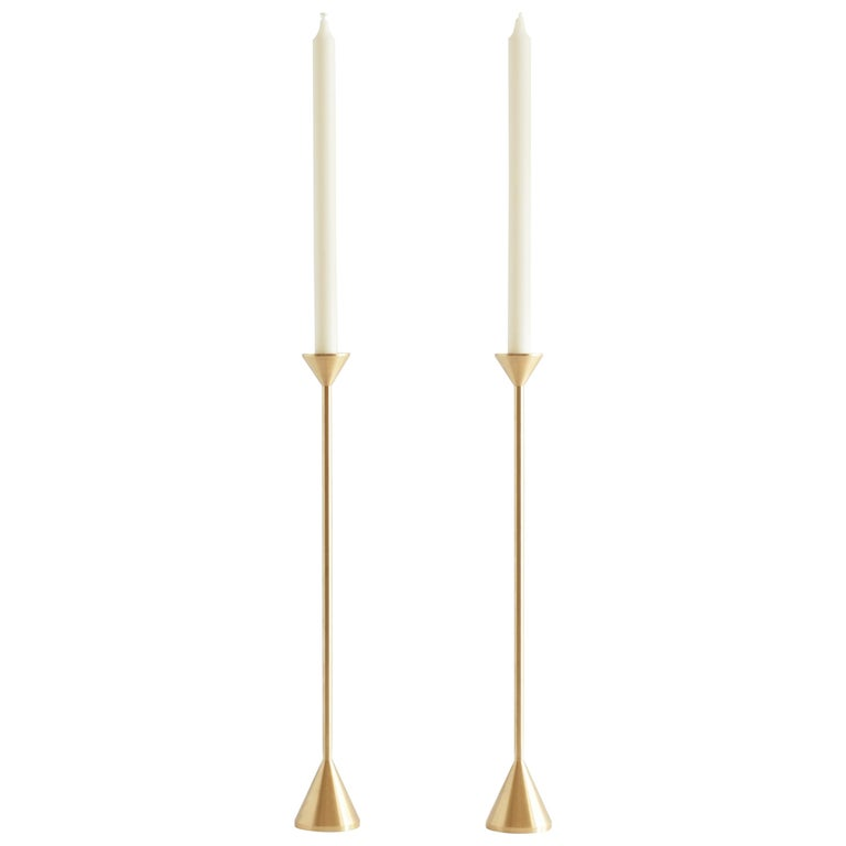 Large Contemporary Brass Cone Spindle Candle Holders by Fort Standard, in Stock For Sale
