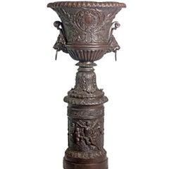 Large Contemporary Cast Bronze Krater Urn on Pedestal with Mythological Figures