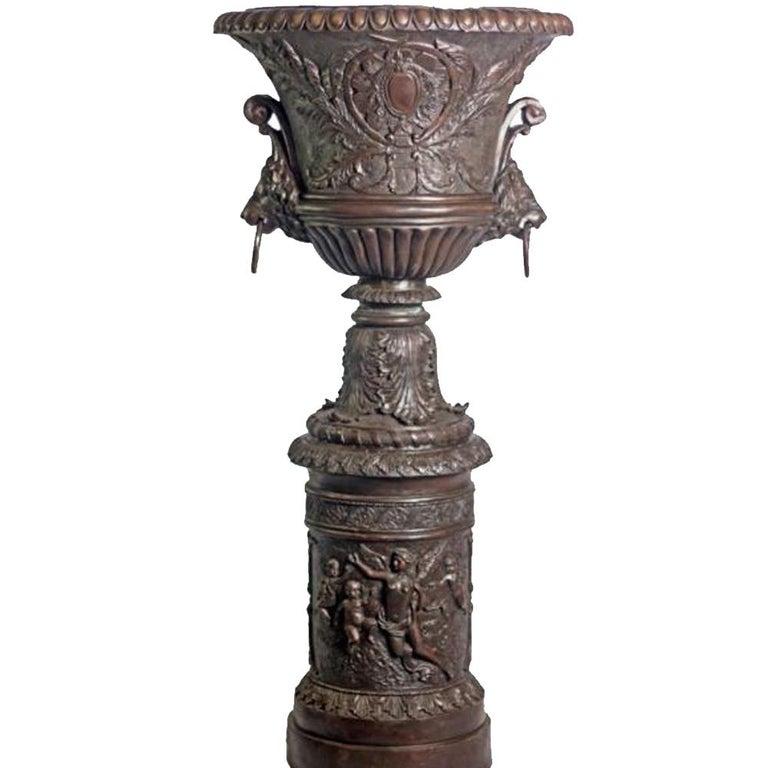 Large Contemporary Cast Bronze Krater Urn on Pedestal with Mythological Figures For Sale