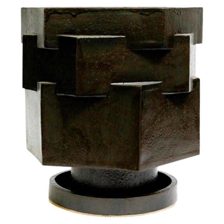Large Contemporary Ceramic Black Hexagon Planter For Sale
