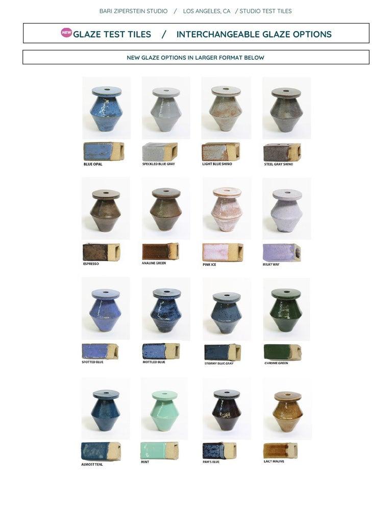 Large Contemporary Ceramic Chrome Green Hexagon Planter For Sale 5