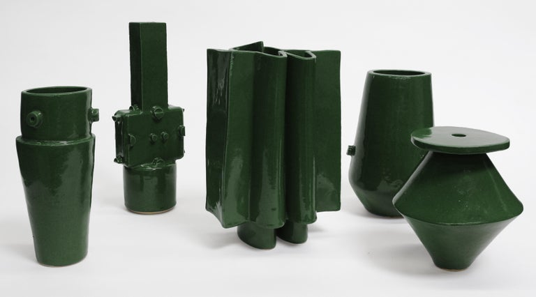 Large contemporary ceramic chrome green hexagon planter for indoor and outdoor use, in specific climates. Not meant for outdoor winter use. Custom hexagon water tray included with purchase for indoor use, please specify. Unlimited edition,