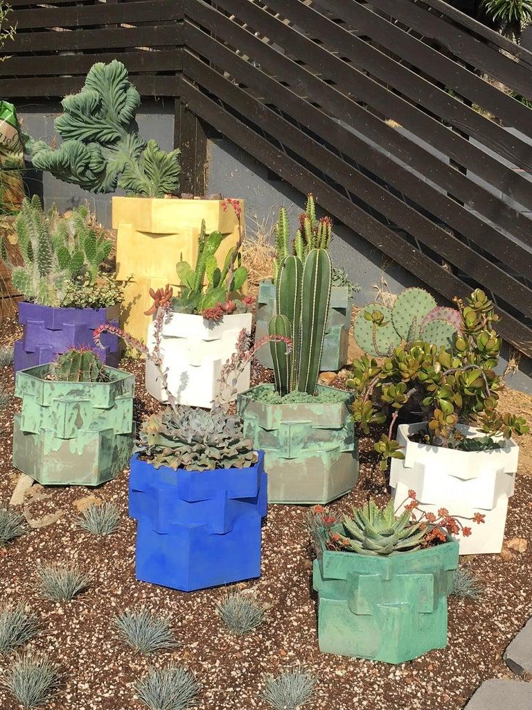 Modern Large Contemporary Ceramic Chrome Green Hexagon Planter For Sale
