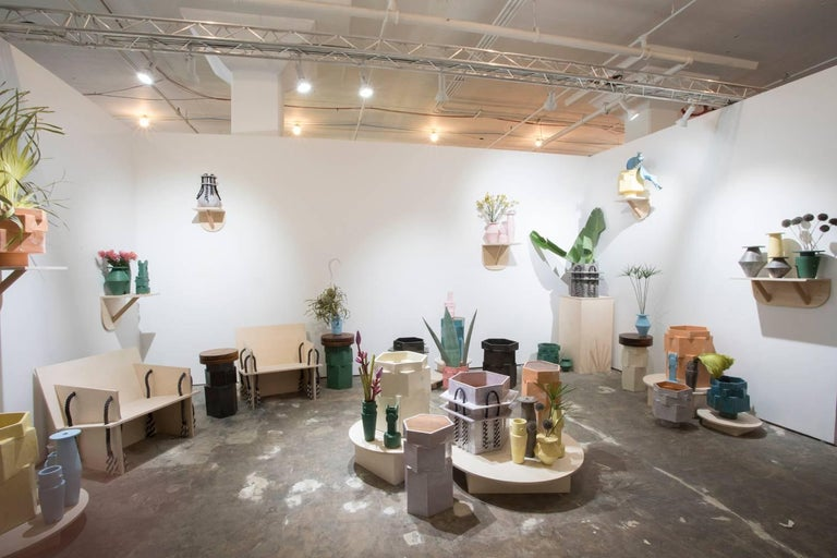 Large Contemporary Ceramic Chrome Green Hexagon Planter For Sale 3