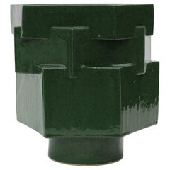 Large Contemporary Ceramic Chrome Green Hexagon Planter