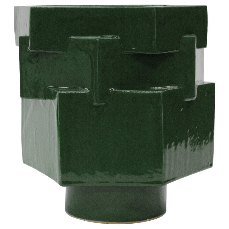 Large Contemporary Ceramic Chrome Green Hexagon Planter For Sale