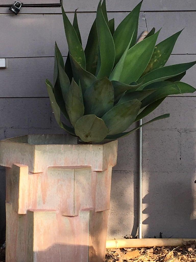American Large Contemporary Ceramic Gray Hexagon Planter For Sale
