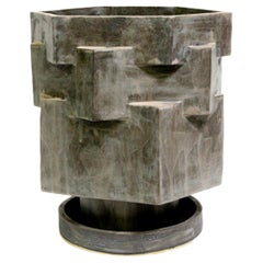 Large Contemporary Ceramic Gray Hexagon Planter