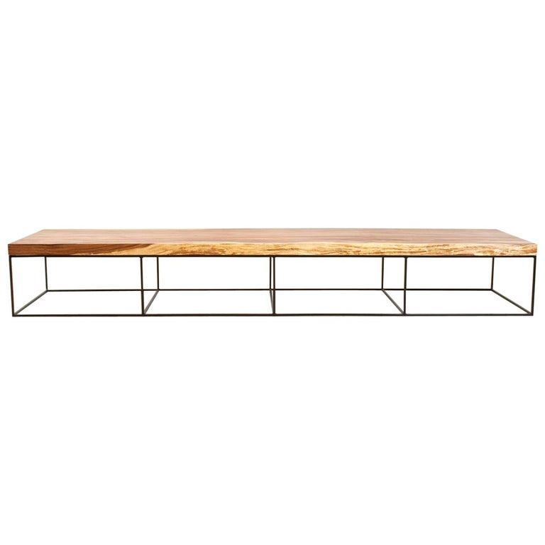 Large Modern Black Coffee Table: Large Contemporary Coffee Table In Suar And Black Metal