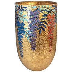 Large Contemporary Gilded Hand Painted Porcelain Vase by Japanese Master Artist