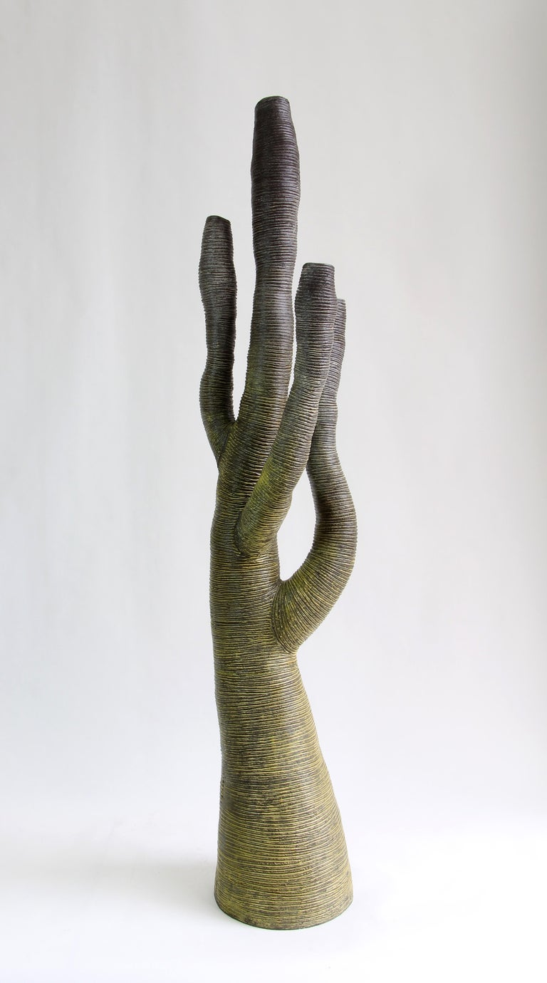 French Large Contemporary Green Ceramic Tree Sculpture, Arbre Vert For Sale