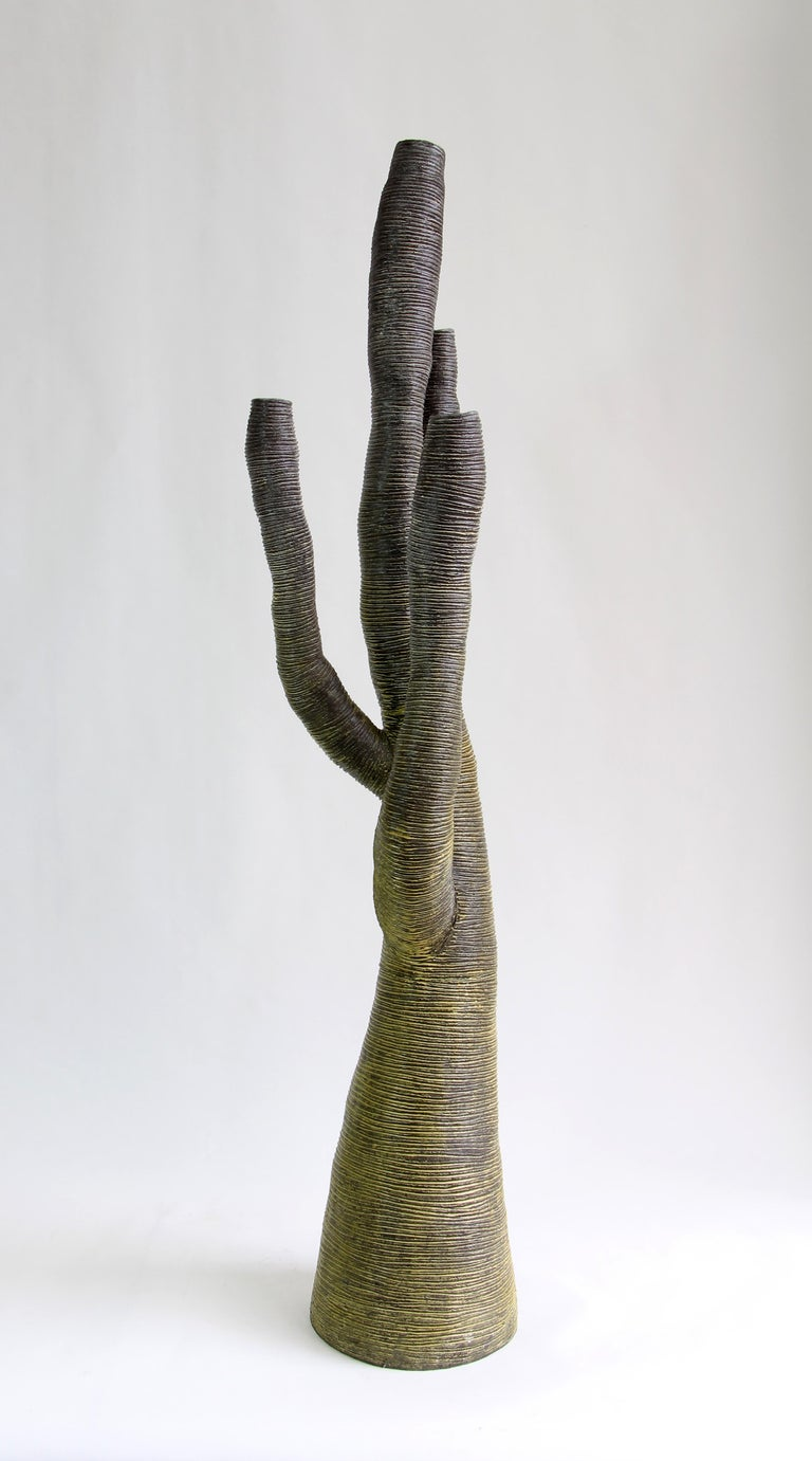 Hand-Crafted Large Contemporary Green Ceramic Tree Sculpture, Arbre Vert For Sale