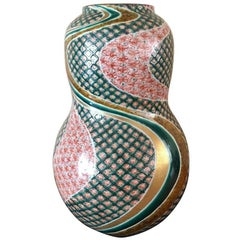 Japanese Contemporary Green Gold Red Porcelain Vase by Master Artist
