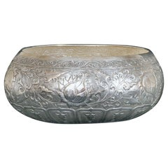 Large Contemporary Hand-Worked solid Silver Bowl, Lotus Motif, Centrepiece