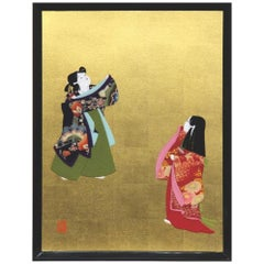 Large Contemporary Japanese Black Gilded Oshie Decorative Art, Framed