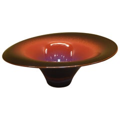 Large Contemporary Japanese Black Red Hand-Glazed Ceramic Bowl by Master Artist