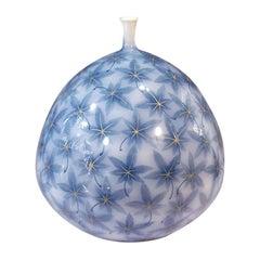 Large Contemporary Japanese Blue Decorative Porcelain Vase by Master Artist